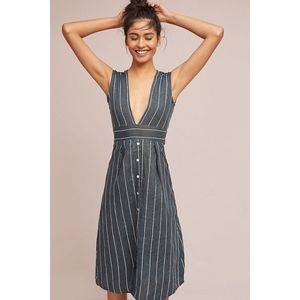 Anthropologie Faithfull Linen Deep-V Dress 2 NWOT